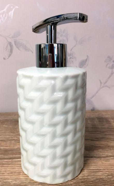 Blue  Ceramic Woven Design Refillable Soap Dispenser